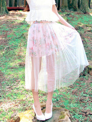 vintage garden sheer double-layered skirt