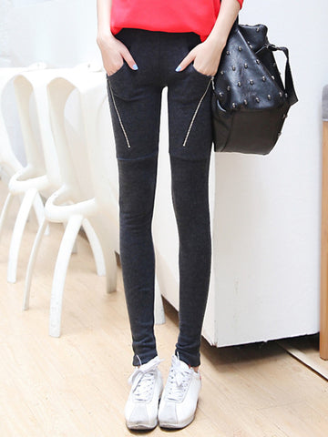 zipper pockets skinny leggings
