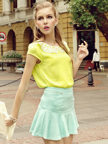 sequined cutout collar chiffon shirt
