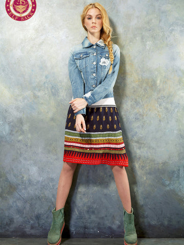 exotic knitted wool skirt