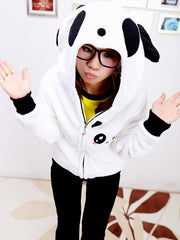 panda hooded plush coat