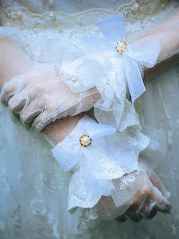 pearl lace bow cuffs
