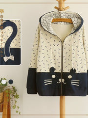 lace kitten hooded jacket