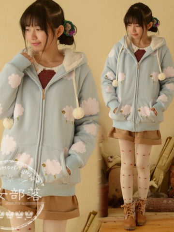 fluffy sheep hooded coat