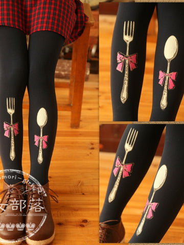 fork and spoon printed tights