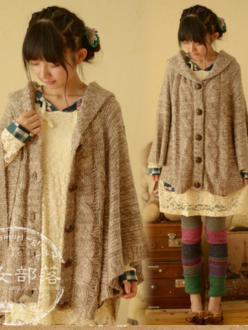 Clearance - fall cable cape cardigan
