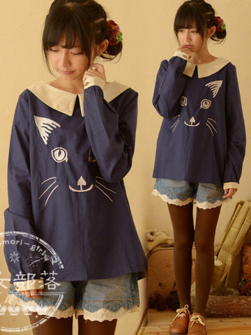 embroidered cat long sleeve top