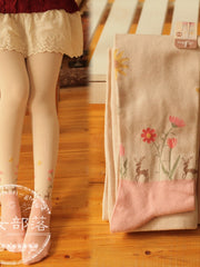 deer and flowers tights