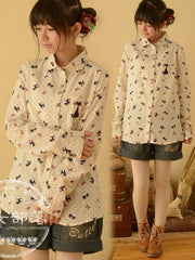 cat and bow cotton shirt