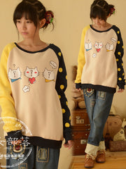 cartoon cat patchwork pullover