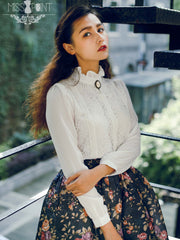 Miss Hepburn retro lace chiffon shirt