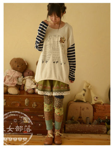 owl family striped top