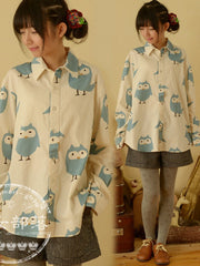 Clearance -  cartoon owl long sleeve shirt