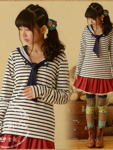 lady sailor striped top