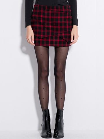 layered piece plaid skirt