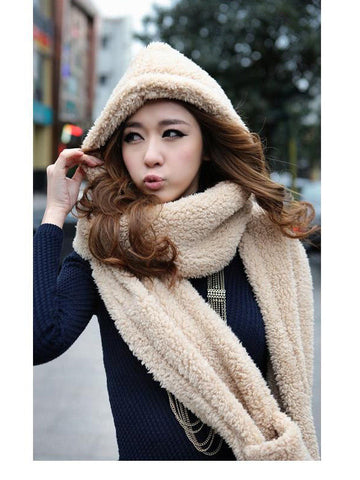 Clearance - beige color hat & mitten set