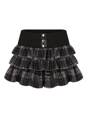 Clearance - black plaid scholarly skirt
