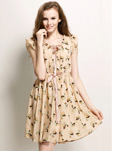 Clearance - snow deer bowknot dress in beige