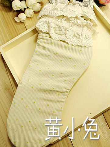 lace trim polka dot socks
