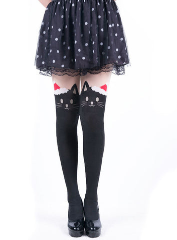 Japanese Kawaii santa cat tattoo tights