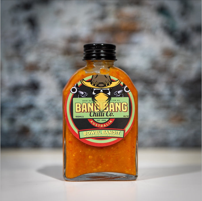 Bang Bang Chilli Co Bowel Bandit - Australian Carolina reaper hot sauce with orange nbourbon and smoked chillis