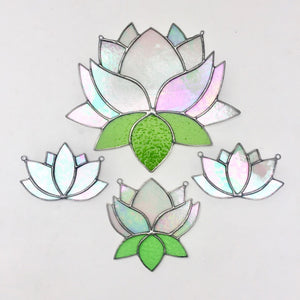 stained glass lotus home decor sun catcher. handmade in vermont by artist carrie root of the root studio.