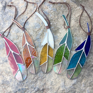 Stained Glass Feather - Red