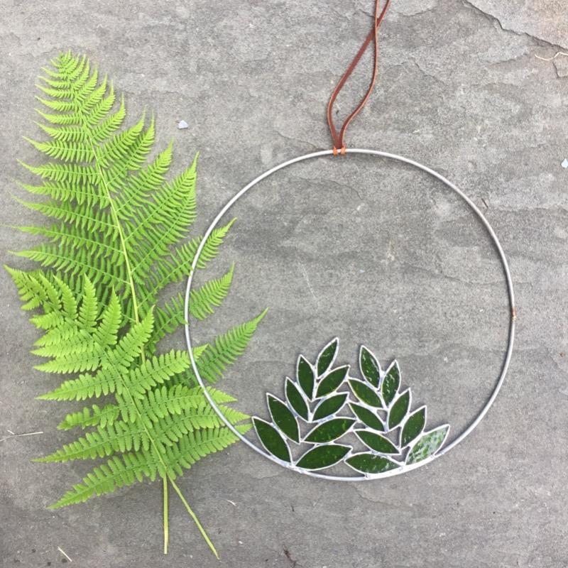 Stained Glass Double Fern in Circle