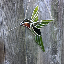 stained glass hummingbird sun catcher  handmade in Vermont by artist Carrie Root of the Root Studio