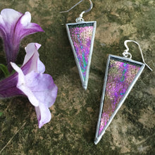 Triangle Stained Glass Earrings - Clear Iridescent