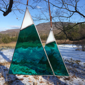 Snow-topped Mountains Stained Glass