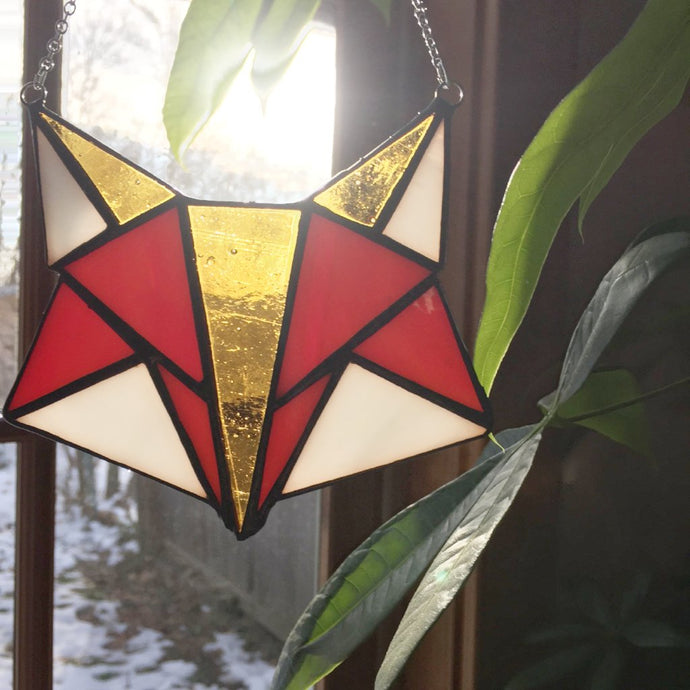 Geometric Woodland Fox Stained Glass Suncatcher made by Carrie Root of the Root Studio - handmade in Vermont