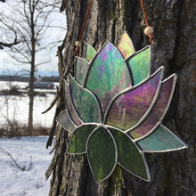 Stained glass lotus sun catcher - home decor inspired by nature - handmade in Vermont by artist Carrie Root of the Root Studio.