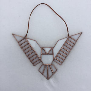 Geometric Stained Glass Owl Suncatcher