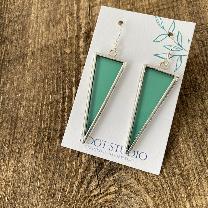 Long Triangle Stained Glass Earrings - Sea Green