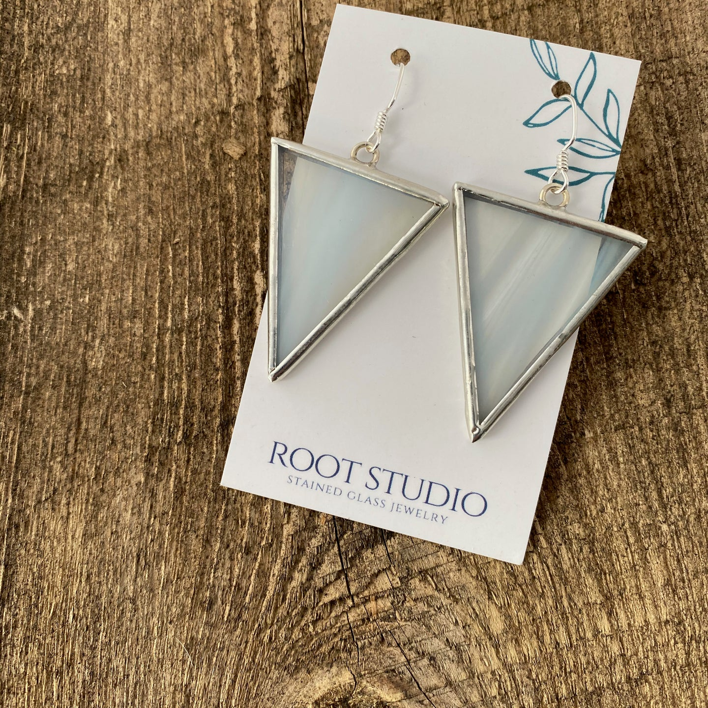 Large Triangle Stained Glass Earrings - Whispy White