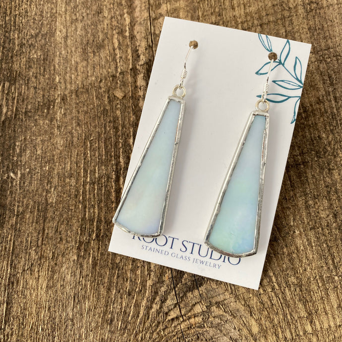 Long Drop Stained Glass Earrings - Iridescent White