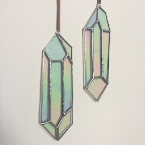 Stained glass crystal sun catcher. Crystal home decor handmade in Vermont by artist Carrie Root of the Root Studio