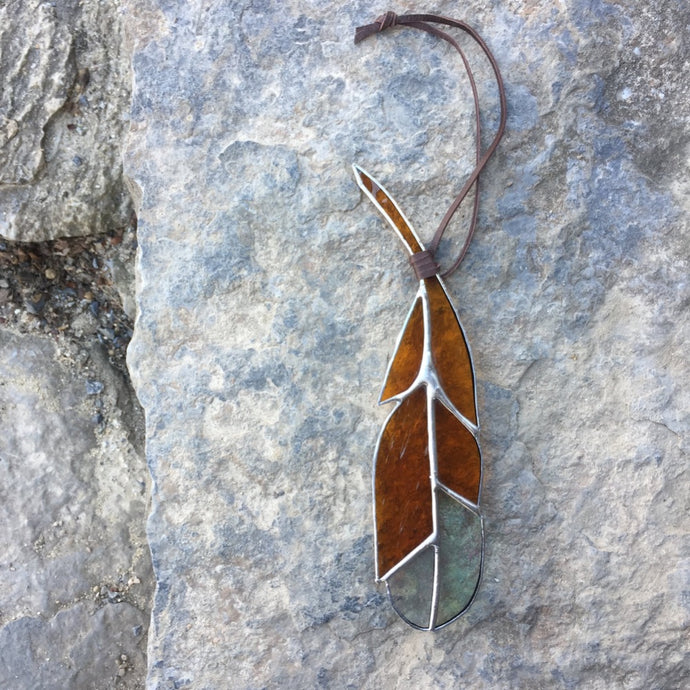 stained glass home decor feather handmade in vermont by artist carrie root  of the root studio