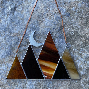 Fall inspired moon and mountains stained glass home decor - handmade in Vermont by carrie root