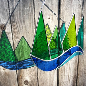 green mountains and lake stained glass handmade by artist carrie root of the root studio in addison, vermont