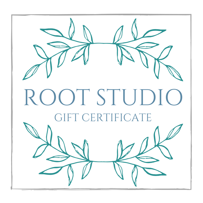 root studio gift card/gift certificate for handmade stained glass items made by carrie root of the root studio in vermont