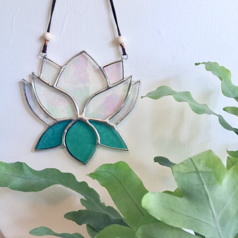 Stained Glass Lotus Flower Suncatcher