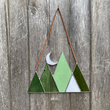 Stained glass mountain and moon home decor sun catcher handmade in vermont by carrie root of the root studio.