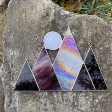 Stained glass mountains and full moon inspired by Vermont. Handmade by Carrie Root of the Root Studio in Addison, Vermont.  Makes a lovely unique gift and brightens up any home decor.