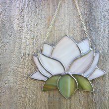 Stained Glass Lotus Flower - a unique and inspirational home decor suncatcher gift. Handmade in Vermont by artist Carrie Root of the Root Studio.