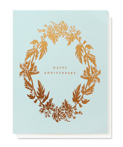 botanical wreath happy anniversary card - www.mignonshop.com - 1