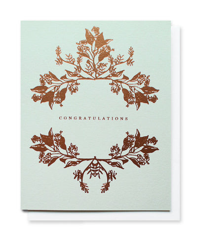 botanical wreath congratulations card - www.mignonshop.com - 1
