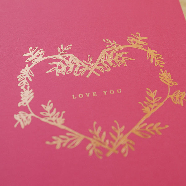 botanical wreath love you card - www.mignonshop.com - 2