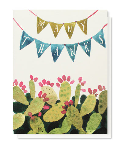 cactus pennant many thanks card